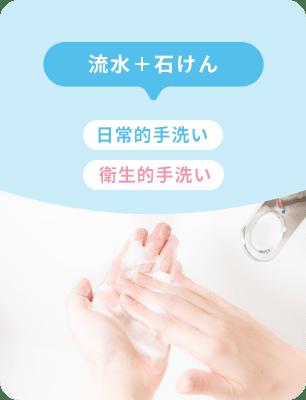 流水 + 石鹸 日常的手洗い 衛生的手洗い